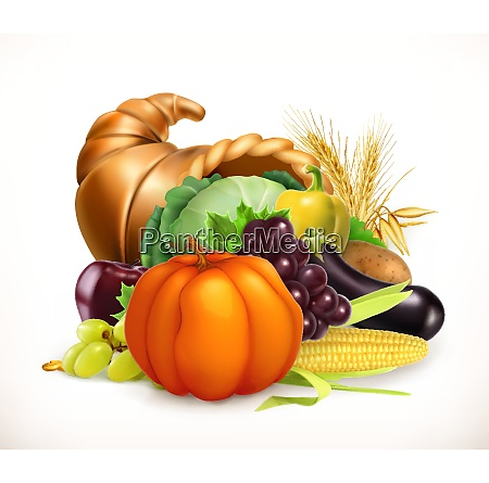 horn of plenty harvest fruits and