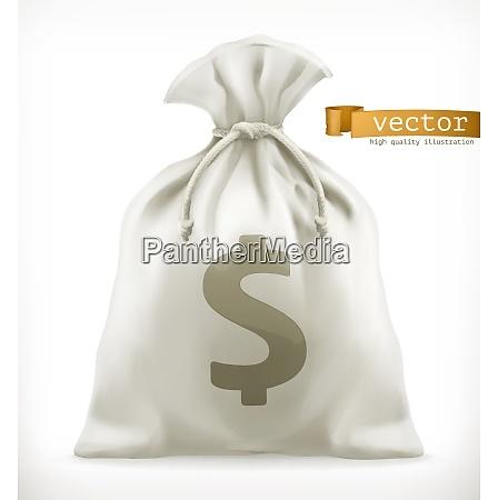 money bag 3d vector icon