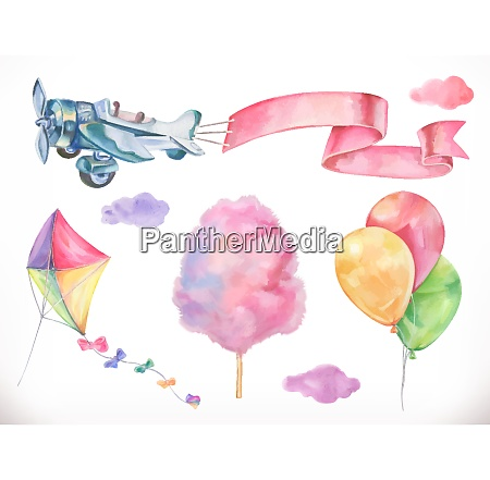 watercolor air kite airplane cotton candy