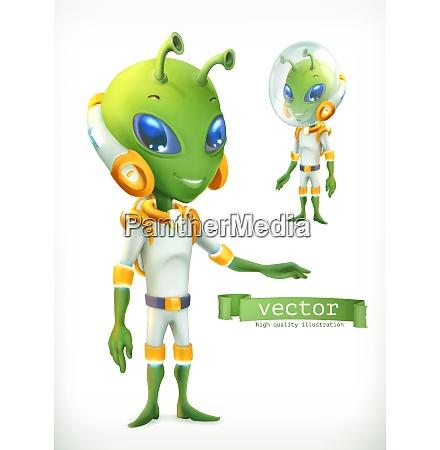 alien in spacesuit funny character vector