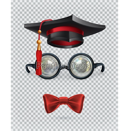 square academic cap mortarboard glasses and