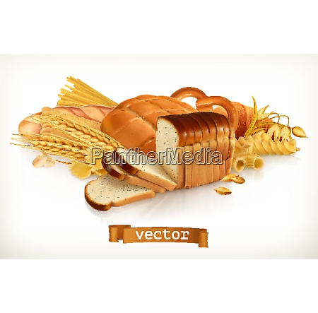 carbohydrates bread pasta wheat cereals 3d