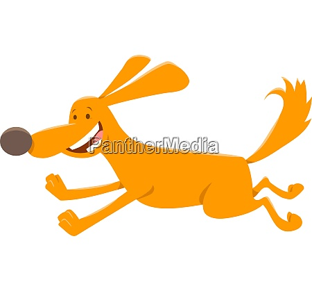 happy running dog cartoon animal character
