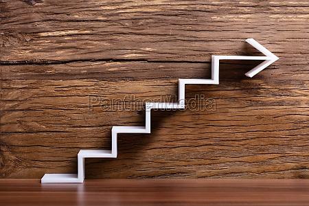 white increasing staircase arrow