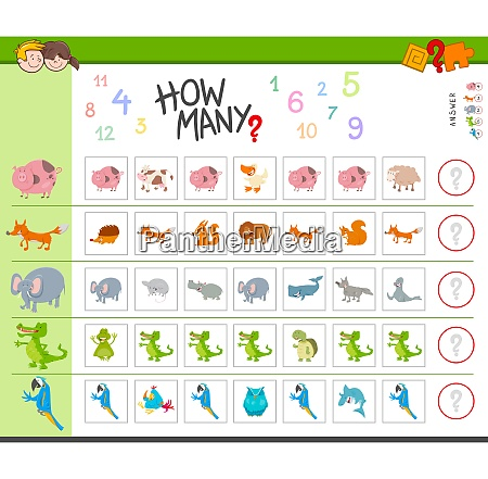 counting task with cartoon animals