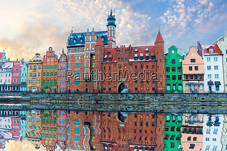 colorful buildings of gdansk by the