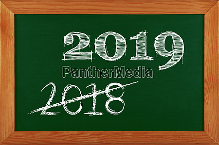 green school chalkboard with 2019 sign