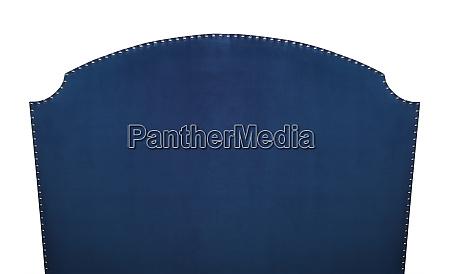 blue soft velvet bed headboard isolated