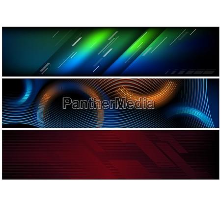 abstract hi tech futuristic banner set
