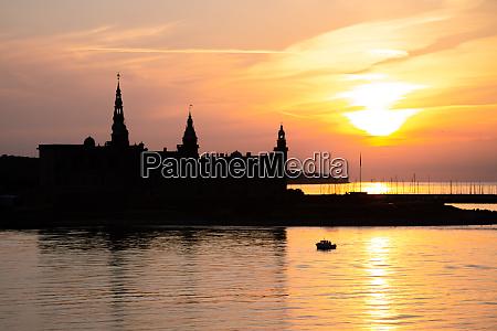 kronborg castle silhouette in helsingor at