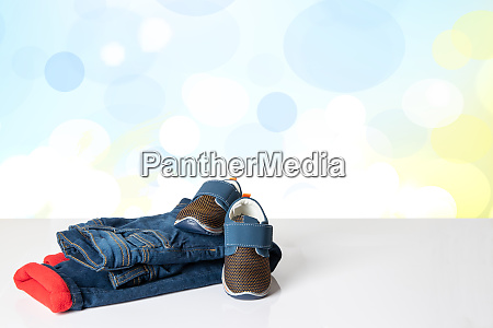 colorful children jeans clothes fashionable red