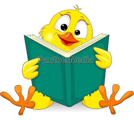 small chick with a book