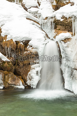 small waterfall at kuhflucht creek near