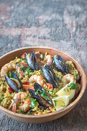 bowl of seafood paella