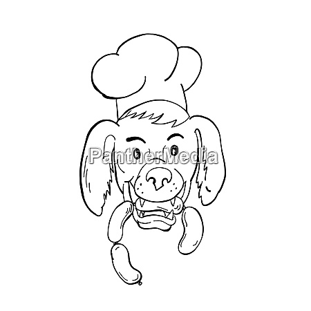 chef dog biting sausage string cartoon