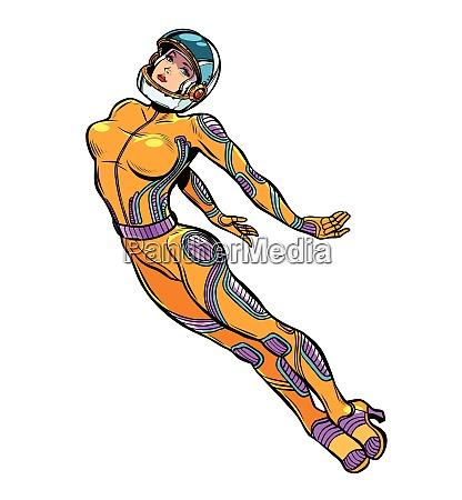 sexy woman astronaut super hero strong