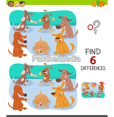 differences game with cartoon dogs