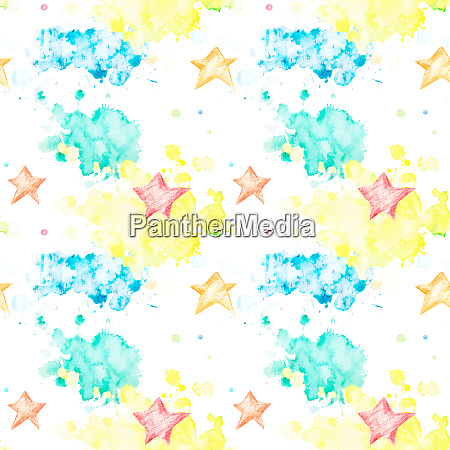 seamless pattern with multicolored watercolor blots