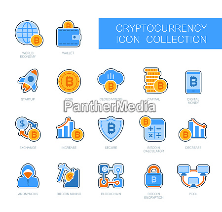 cryptocurrency and blockchain icons