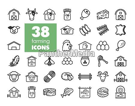 farm animal icons vector set