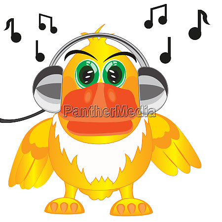 cartoon of the bird in earphone