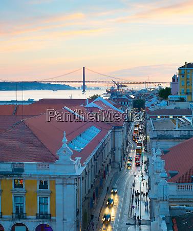 lisbon old town street twilight