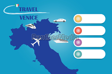 travel venice in italy template vector