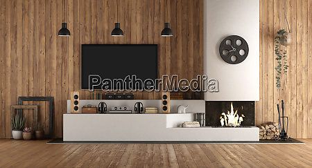 home cinema in rustic stryle with