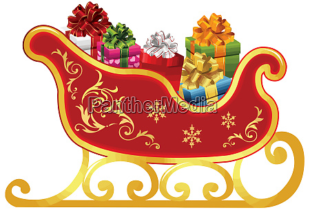 santa claus sleigh full presents illustration