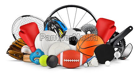 huge collection stack of sport balls