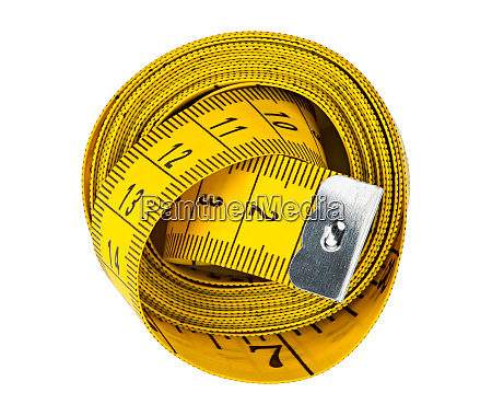 yellow isolated metric measuring tape white