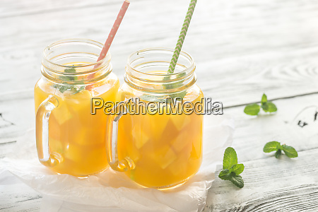 mango juice in mason jars