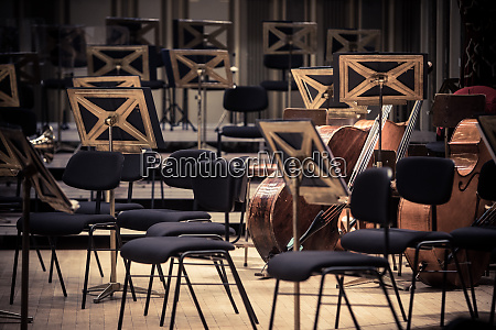 orchestra empty seats on a stage