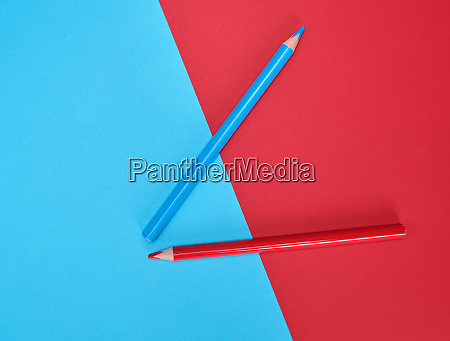 red and blue wooden pencils on