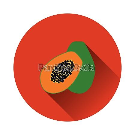 flat design icon of papaya