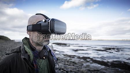 man experiencing virtual reality