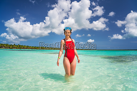 young woman on the beautiful ocean