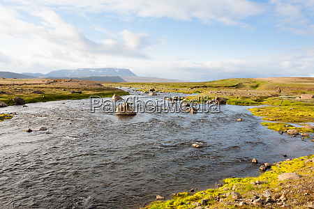 river near hvitarvatn lake iceland highlands