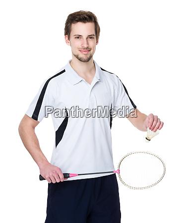 caucasian badminton player
