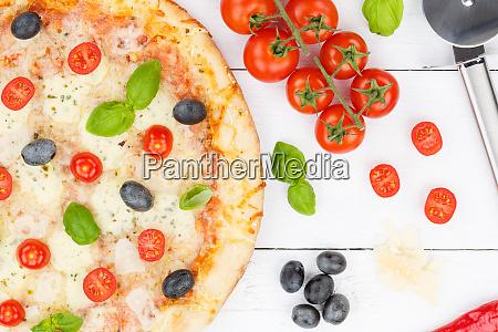 pizza margarita margherita from above baking