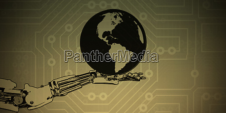 robot hand holding globe