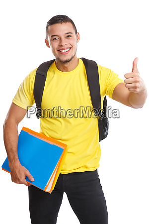 student young man success successful thumbs