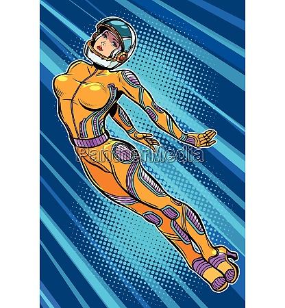 beautiful woman astronaut hero flying up