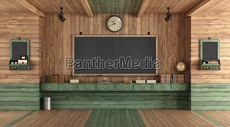 empty wooden classroom in retro style