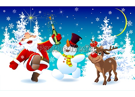 happy santa a deer and a