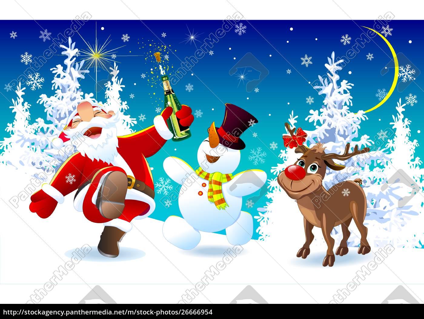 happy, santa, , a, deer, and, a - 26666954