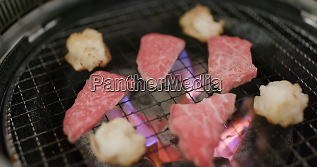 japanese barbecue with beef in restaurant