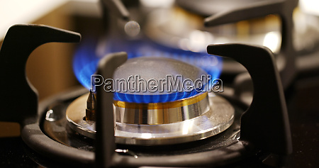 gas burner on the stove in