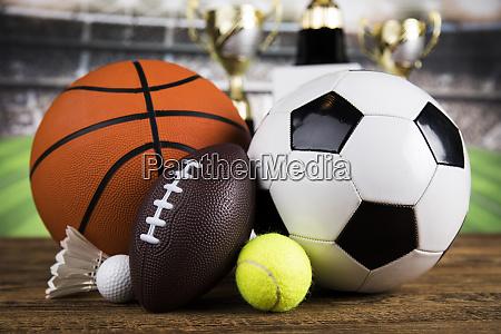 sport equipment soccer tennis basketball