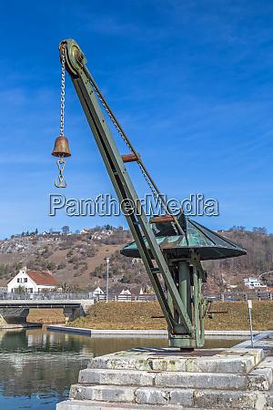 historic crane at old port of